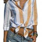 Yellow Blue Striped Cotton Shirt