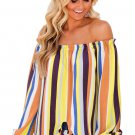 Yellow Multicolor Striped Off Shoulder Blouse