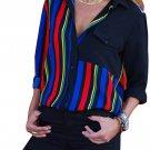 Black Colorblock Long Sleeve One Pocket Shirt