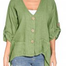 Green Roll Tab Sleeve Button Front Casual Shirt