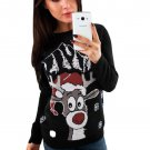Black Christmas Reindeer Crew Neck Sweater