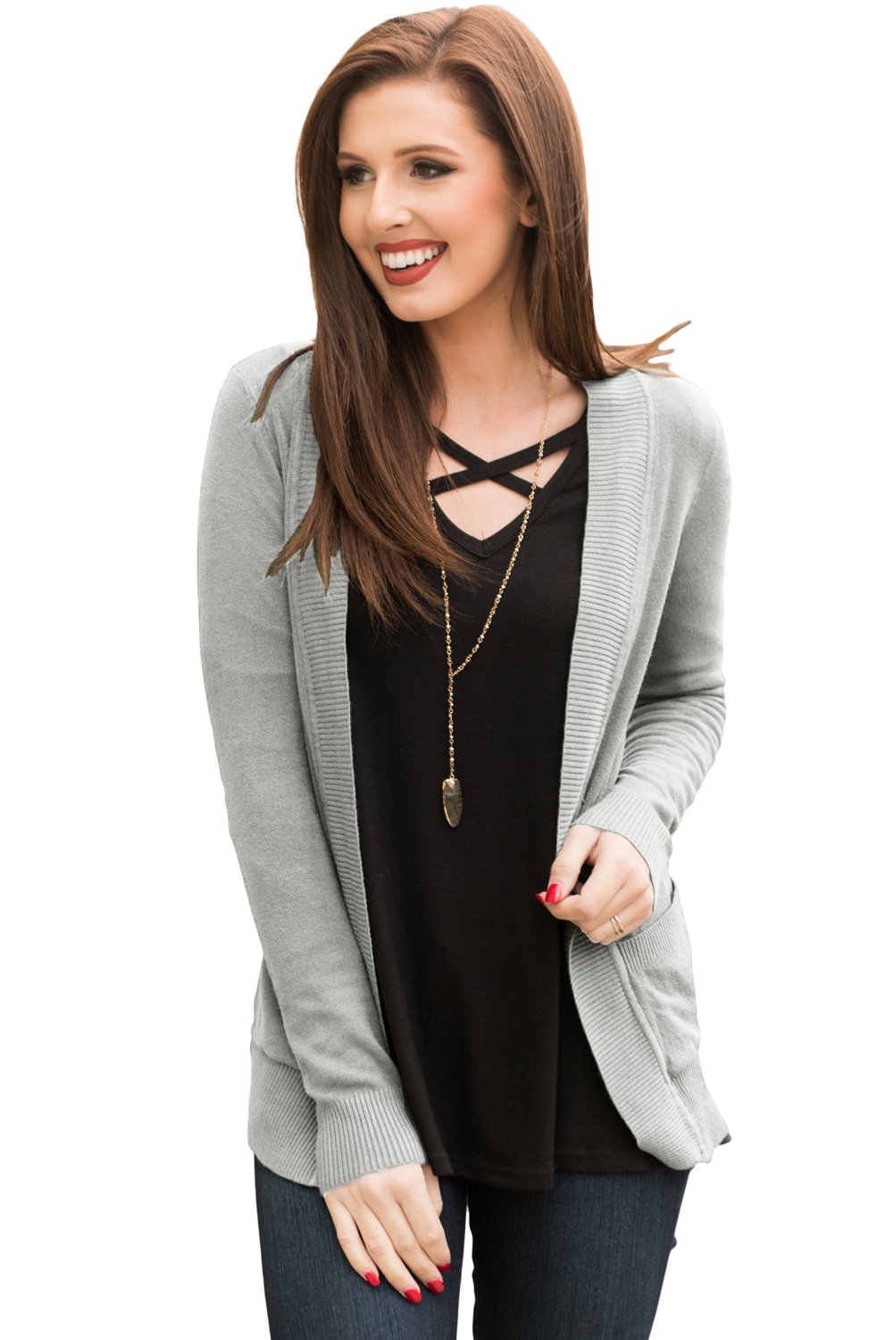 Gray Knit Long Sleeve Cardigan Top with Pockets