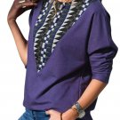 Purple Long Sleeve Colorblock Diamond Top