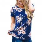 Royal Blue Short Sleeve Round Neck Floral Printed T-shirt