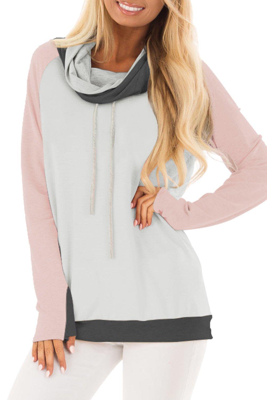 Pink Thumb Hole Sleeves Color Block Sweatshirt