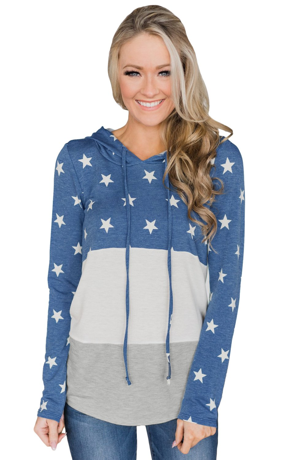 Navy Starry Splice Colorblock Drawstring Hoodie