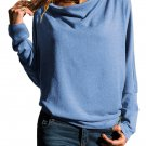 Slate Blue Concise Pullover Sweatshirt