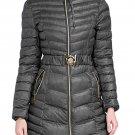 Stylish Dark Gray Hooded Longline Winter Coat with Belt