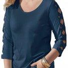 Fashion Navy Lattice Quarter Sleeved Plus Size Top
