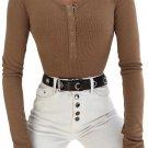 Khaki Long Sleeve Button Front Bodysuit