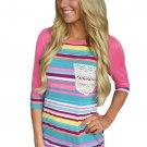 Rosy Raglan Sleeve Lace Pocket Detail Printed Top