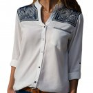 Embroidered Shoulder Accent White Shirt