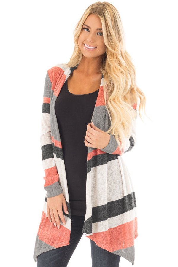 Mauve and Taupe Shawl Neck Colorblock Long Sleeve Cardigan