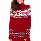 Red Christmas Snowflake Knit Turtleneck Jumper