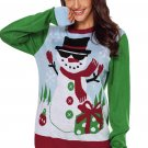 Cool Snowman Christmas Sweater with Green Sleeves