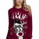 Red Christmas Reindeer Crew Neck Sweater