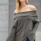 Grey Soft Velvet Knit Off Shoulder Sweater