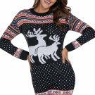 Snow Land Reindeer Knit Black Christmas Sweater