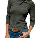 Charcoal Ribbed Knit Turn Down Collar Top