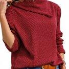 Burgundy Asymmetric Cowl Neck Ribbed Knit Top