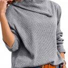 Gray Asymmetric Cowl Neck Ribbed Knit Top