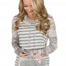 Gray Floral Multi Striped Sweatshirt