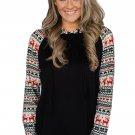 Black Christmas Reindeer Hooded Long Sleeve Sweatshirt