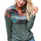 Aztec Print Atop Sage Green Pullover Sweatshirt