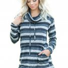 Charcoal Multicolor Cowl Neck Striped Long Sleeve Sweatshirt