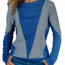 Dark Blue Color Block Round Collar Sweatshirt