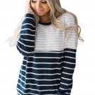 Gray Stripes Accent Color Blocked Sweatshirt