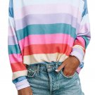 Rainbow Striped Pullover Sweatshirt