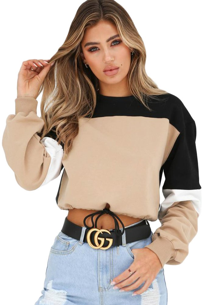 Khaki Black Drawstring Cropped Colorblock Sweatshirt