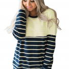 Yellow Stripes Accent Color Blocked Sweatshirt