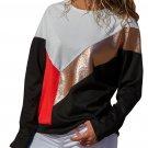 White Black Color Block Leatherette Splice Sweatshirt