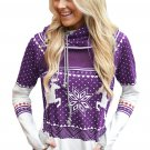 Purple Snow Reindeer Double Hooded Sweatshirt