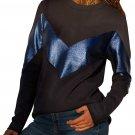 Black Navy Color Block Leatherette Splice Sweatshirt