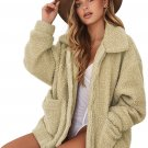 Camel Lamb Wool Zipped Chunky Coat