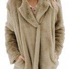 Khaki Pocket Style Fluffy Winter Coat
