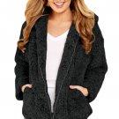 Black Zip Down Furry Hooded Jacket