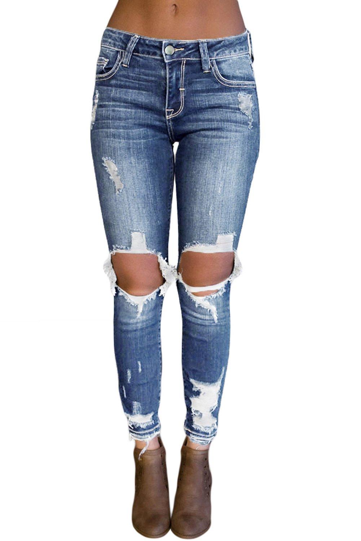 Light Blue Destroyed Skinny Jeans