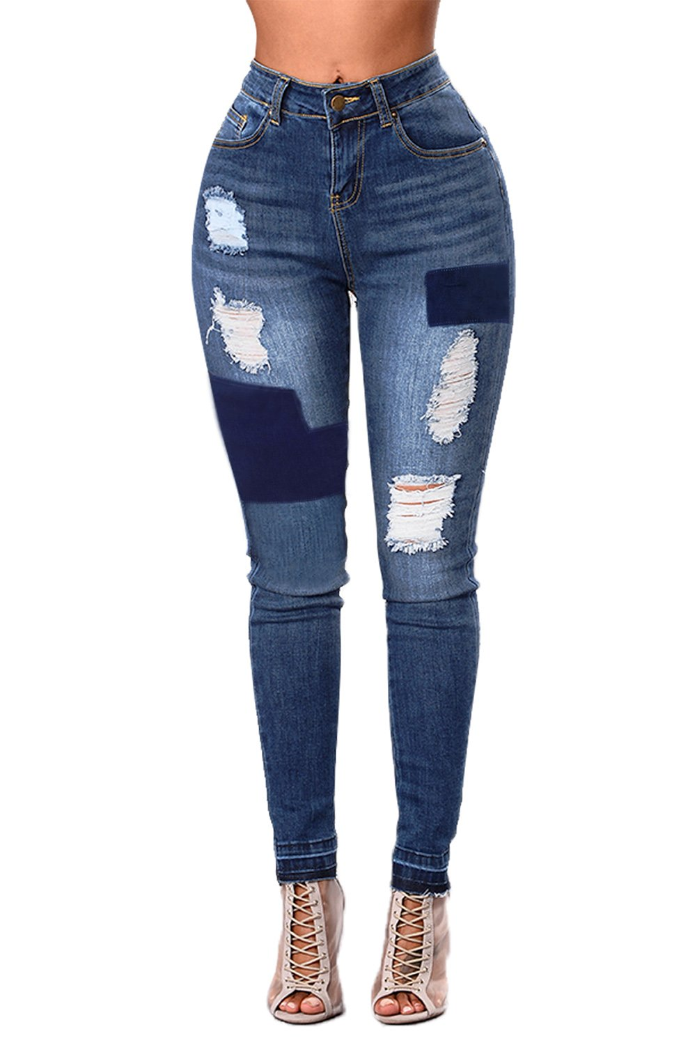 Blue Individual Patched Ripped Jeans