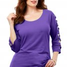 Grape Lattice Quarter Sleeved Plus Size Top