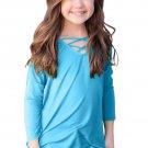 Turquoise Long Sleeve Crisscross Top for Girls