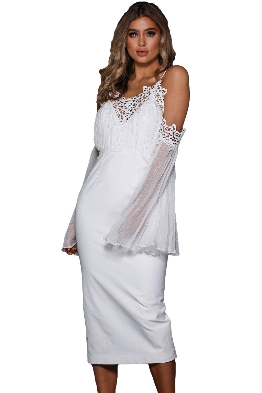 White Chiffon Bell Sleeve Boho Lacy Midi Dress