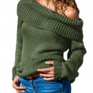 Green Turn-down Collar Show Shoulder Ribbed Sweater