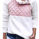 Pink White Fleece Asymmetrical Snap Pullover