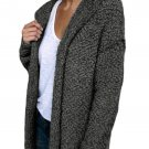 Charcoal Fluffy Hooded Open Front Cardigan