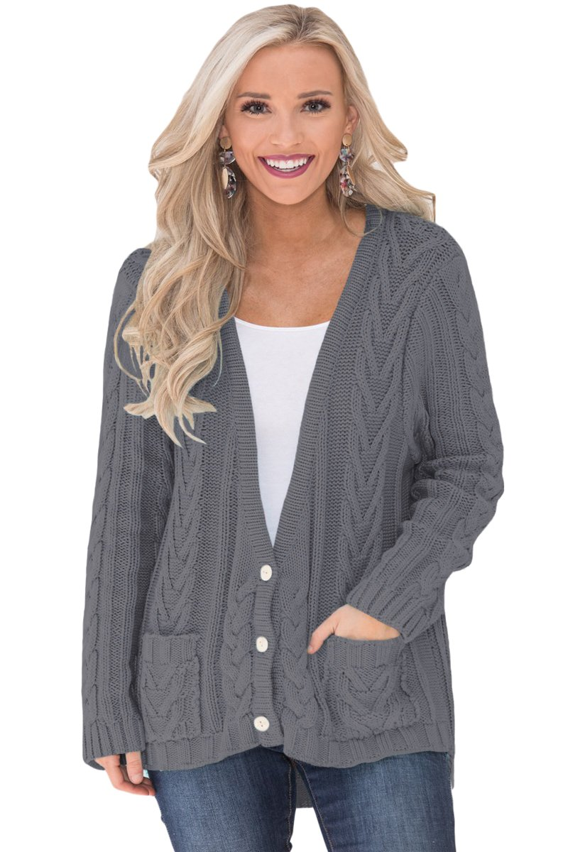 Gray Button the Deep V Front Cable Sweater Cardigan