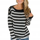 Button On Shoulders Black Striped Long Sleeve Top